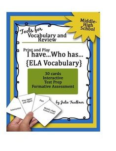 "Elements of Literature Terms ""I Have...Who Has"" Test Prep Middle to High"