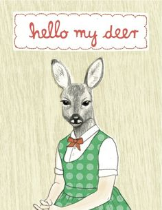 """Hello my deer"" Postkarte von enna shop auf DaWanda.com"