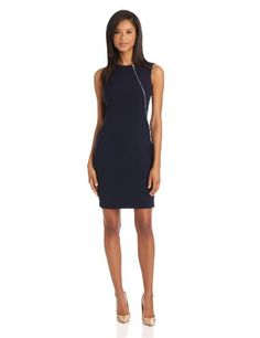 Calvin Klein Women%27s Sheath Dress With Zipper Detail
