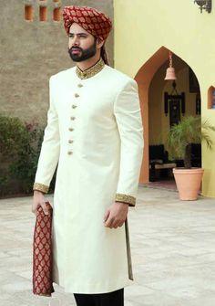 cool white pakistani mens wedding sherwani barat dresses 2017 with red turban