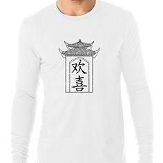 b78a75c28 Happiness Chinese Japanese Asian Kanji Characters Mens Long Sleeve TShirt  >>>