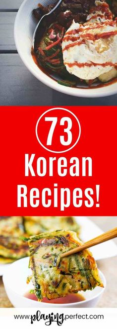 Korean recipes! Here are 73 Korean food ideas to try! Authentic Korean recipes, Korean dinner recipes, Korean lunch recipes, Korean side dish recipes, Korean dessert recipes, Korean noodle recipes, Korean vegan recipes, Korean vegetarian recipes, Korean drink recipes, and Korean street food recipes! FREE Meal Planning printable pack included!   playingperfect.com   #koreanfood #korean #recipeideas #food #playingperfect #dinner #lunch #recipe #yum #recipes #asianfood #asian #koreanrecipes