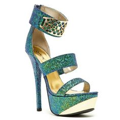 Count-55x Open toe Sandal High Heel Shoes. Featuring teal iridescent leatherette material or nude color, strappy design, gold metal plates accent, open toe, stiletto heel, chunky platform, rear zipper closure for easy on/off, and cushioned insole for comfort. 6″ heel height, 2″ platform, threaded sole, true to size, imported.  $43.99
