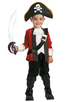 Toddler Costumes - The Child El Capitan Pirate Captain Costume includes the pirate costume jacket with attached sash, pants, boot covers and hat. Whimsical Halloween, Pirate Halloween, Halloween Fancy Dress, Halloween Costumes For Kids, Diy Halloween, Pirate Party, Pirate Boy, Halloween Season, Halloween Halloween
