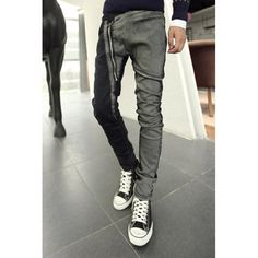 Fashion Bleach Wash Color Block Splicing Zipper Design Slimming Narrow Feet Men's Jeans, AS THE PICTURE, 34 in Jeans | DressLily.com