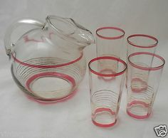 5 pc Retro Vintage Glass Tilted Pitcher & Cups Tumbler Set Red & Gold Stripes