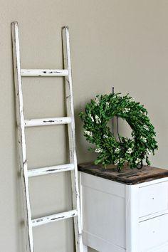 Ladder Vintage Rustic, Blanket Ladder, distressed pot rack, White Wood Furniture, 5', woodworking, step ladder, wood