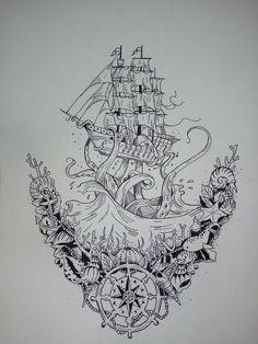 Today's Deals: New Deals. Octopus Tattoo Sleeve, Octopus Tattoo Design, Tattoo Sleeve Designs, Octopus Tattoos, Sailing Tattoo, Nautical Art, Nautical Drawing, Knight Tattoo, Ocean Tattoos