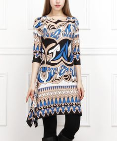Look at this Reborn Collection Blue & Tan Mosaic Sidetail Dress - Women on #zulily today!