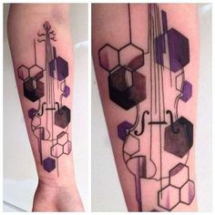 Violin Tattoo - [the overlay/geometric design reminds me of music visualization in toccata and fugue from fantasia]