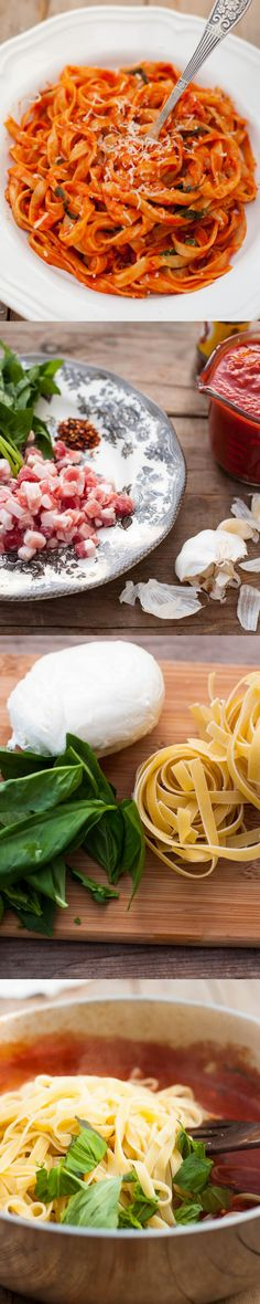 Comidas - Meals - Cheesy Tagliatelle with Pancetta, Basil and Mozzarella, ready in 20 minutes but tastes like it came from the best Italian restaurant. All natural ingredients. Pasta Recipes, Dinner Recipes, Cooking Recipes, Healthy Recipes, Dinner Ideas, I Love Food, Good Food, Yummy Food, Tasty