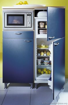 #Kitchen Idea of the Day: Modern Two-Tone Kitchens. (By ALNO, AG). Fantastic, two tone blue built in fridge microwave white floor