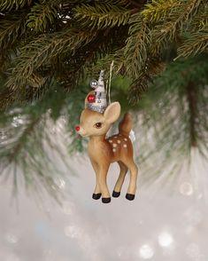 Bethany Lowe Woodland Christmas Stag Deer Dark Brown Handpainted Resin Figure