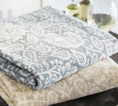 Millie Jacquard Floral 650-gram Weight Bath Towels #potterybarn