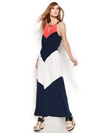 Vince Camuto Colorblock Chevron Halter Maxi Dress