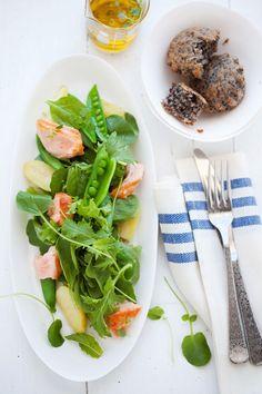 Purple Corn Muffins and Poached Salmon Salad