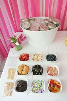 Super cute idea for a girly party - or a grown up one! :D Ice cream sundae bar. Scoop ice cream into mason jars. Then, just keep the mason jars on ice! very cute idea! Snacks Für Party, Party Desserts, Teen Party Food, Bar Sundae, Sundae Toppings, Bar A Bonbon, Ice Cream Social, Think Food, Festa Party