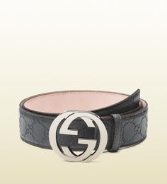 guccissima leather belt with interlocking G buckle