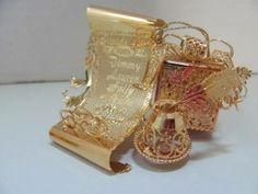 DANBURY MINT 23K GOLD PLATED SANTA'S LIST CHRISTMAS ORNAMENT 2003 EXCELLENT
