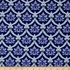 Stonewall Bloom Damask Light Navy from @fabricdotcom  Designed by Leslie Mark Designs for Clothworks, this cotton print is perfect for quilting, apparel and home decor accents. Colors include navy, aqua, and white.