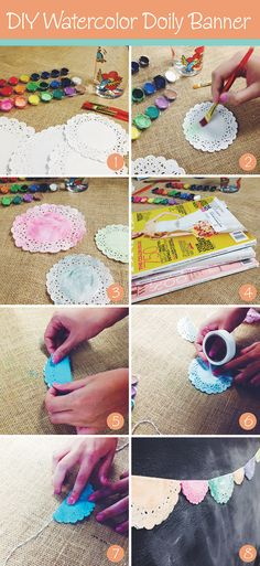 how to DIY your own watercolor doily banner. easy peasy lemon squeezy!