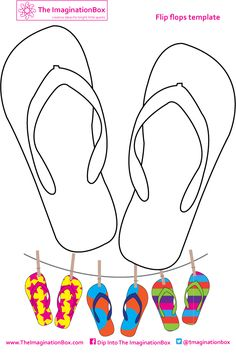 Get designing your own unique funky flip flops! A handy free printable to occupy your kids at home or on the road this summer.