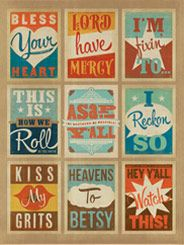Southern Sayings Multi-Print - Having trouble choosing a print with your favorite Southern expression? Are you running low on wall space? Dont you worry your pretty little headweve created this multi-image print just for you! Featuring 9 essential bonafide Southern sayings, this print is sure to add a touch of Charm to any room.