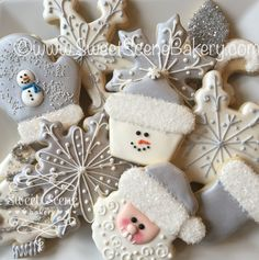 Winter White Christmas Cookies, Santa Cookies, Snowman Cookies Snowflake Cookies.  https://www.flickr.com/photos/114555885@N04/shares/z760e4 | Sweet Scene Bakery's photos