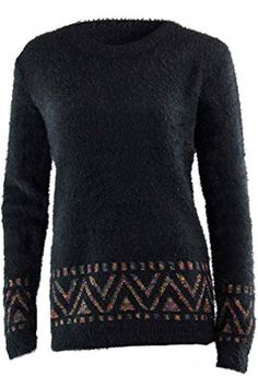 Luxury Divas Black Shaggy Aztec Pullover Sweater Size Medium *** Find out more about the great product at the image link.