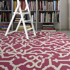 """I'm considering this rug made of FLOR New Carpet Tiles for the nursery, instead of a chevron rug. This design is called """"Lasting Grateness"""", and it comes 15 different colors O__O !"""