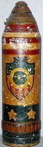 US WWI Trench Art Painted Projectile