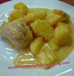 En voilà une recette des plus simple, très rapide et .......... très bonne !!!!! J'ai cuisiné ce plat à l'aide du Cookéo. Temps de préparation : 13 mn Temps de cuisson : 5 + 10 mn Ingrédients pour 4 personnes : - 4 pilons de poulet - 8 pommes de terre...
