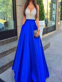 Long Custom Prom Dress,deep v-neck prom dress,beads prom dress,sparkly prom dress,ball gown dress,royal blue prom dress,junior prom dress,gorgeous prom dress,sexy prom dressPD008138