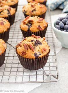 Healthier Blueberry Pecan Bran Muffins Healthier Blueberry Pecan Bran Muffins are nothing like those heavy bran muffins you've had before! They're moist, light, and bursting with blueberries. Flavor the Moments Blueberry Bran Muffins, Almond Flour Muffins, Blue Berry Muffins, Lemon Muffins, Baking Muffins, Almond Cookies, Healthy Muffins, Healthy Treats, Healthy Recipes