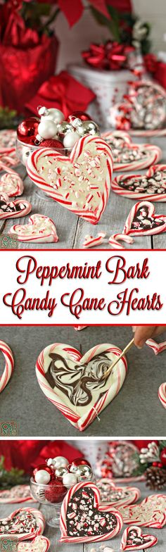 Peppermint Bark Candy Cane Hearts - Christmas candy thats easy to make, looks beautiful, tastes delicious, and is perfect for gift giving! christmas food and drink Easy Christmas Candy Recipes, Cute Christmas Gifts, Christmas Snacks, Christmas Cooking, Noel Christmas, Christmas Goodies, Holiday Baking, Christmas Desserts, Holiday Treats