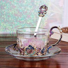 Enamel Flower Tea Cup Set Glass Coffee Mug Drinkware Gifts - House & Garden - Tea Glasses Coffee Mug Display, Coffee Mug Holder, Glass Coffee Mugs, Glass Tea Cups, Coffee Cup, Coffee Thermos, Interior Design Blogs, Tea Cup Set, Tea Sets