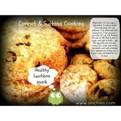Carrot and Sultana Cookies #hiddenveggies #sinchies #reusablepouches #reusablefoodpouch #squeezypouch #dessert #snack #kids #children #toddlers #lunchboxes #reusable #recyclable #sustainable #healthy #additivefree #preservativefree #nonumbers #nocolors #homemade #bpafree #nowaste #nudefood