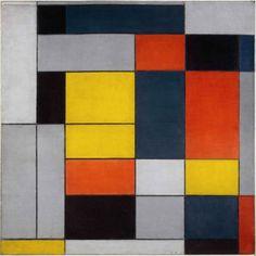 From Tate Liverpool, Piet Mondrian, No. VI / Composition No. II Oil paint on canvas, × cm Geometric Artists, Geometric Shapes, Theo Van Doesburg, Mondrian Art, Retro Typewriter, Dutch Painters, Western Art, Art Pictures, Pixel Art