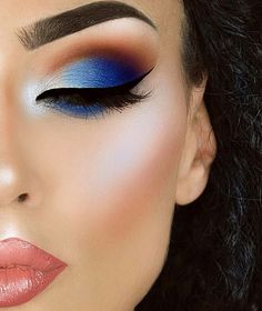 Makeup Ideas |  Colorful Blue and Orange Eyeshadow Look |  Dramatic Cut Crease Eye Makeup