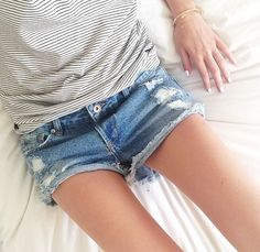 Love this style - thin stripes and cut offs. So casual :) and comfy.