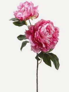 Peony silk flower bouquets 9 peonies two tone pink fuchsia 195 peony spray wbud fake flowersartificial flowerssilk mightylinksfo