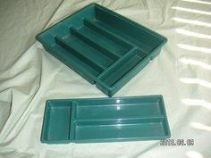1 Office DESK/DRAWER ORGANIZER-TRAY SET  - Brand:  STERILITE - Model:  1577  - Color:  TURQUOISE -  This is a 2-PIECE UNIT -  Total 8 Storage Compartment-Slots - Craft Supplies ORGANIZER Storage [MsFrugaLady on ebay]