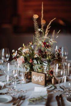 Centerpiece vignette with vintage brass bud vases and autumn flowers by Venn Floral at Olympia's Valley Estate with Ooh La La Weddings and Events photographed by Gretchen Gause. Wedding Vase Centerpieces, Wedding Vases, Fall Wedding Flowers, Wedding Table Decorations, Wedding Flower Arrangements, Autumn Wedding, Floral Wedding, Rustic Wedding, Autumn Flowers