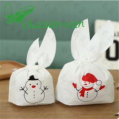 Wholesale 10Pc Christmas Snowman Candy Bag Festival Party Supplies DIY Birthday Wedding Favors and Gifts Decorative Crafts.Q #DIYChristmasGifts