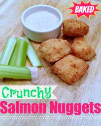 Healthy Baked Salmon Nuggets » Super Glue Mom™. Use GF panko or breadcrumbs. Don't cook as long as it says, they get dry.