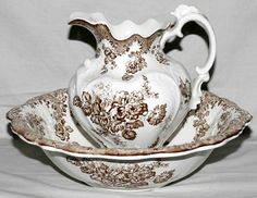 JOHNSON BROS., ENGLISH DEMI PORCELAIN PITCHER & WASH BASIN, C. 1900, H 11 1/4, DIA 17:Vienna pattern, including 1 pitcher, H.11 1/4, and 1 wash basin, H.4 1/2, Dia.17, brown trasfer decoration.