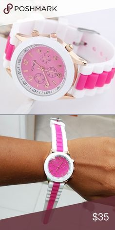 """Round Dial with Silicon Strap Rose Red The details:  Case Material: Alloy Case Diameter: 3.8cm/1.50"""", Strap Length : 23.5cm/9.25"""", Strap Material: Silicone. Weight: 80g. Accessories Watches"""