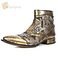 Stiefeletten 3cm Luxus Elegant Extravagant Custom Herren Gold Python Apropos