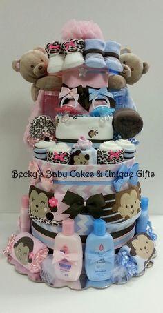 Twin Diaper Cake Boy & Girl Twin Baby Twin by BeckysBabyCakesandUn, $254.99
