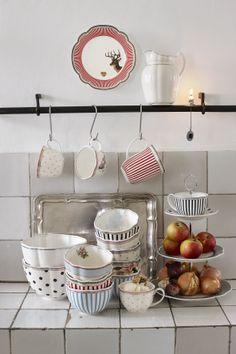 Kitchen by Lisbeth Dahl Copenhagen Autumn/Winter 13. #LisbethDahlCph #Winter #Gold #Red #Porcelain #Glass #Kitchen